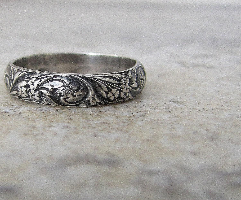 antique wedding band filigree wedding band Antique Wedding Band Floral Pattern Ring Silver Floral Wedding Ring
