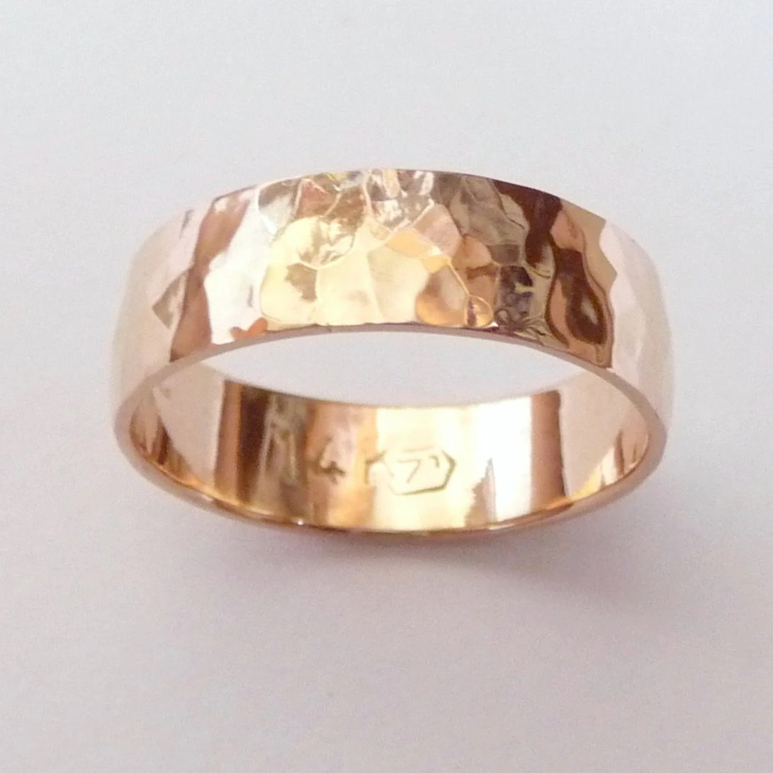 men rose gold wedding band hammered rose gold wedding rings zoom