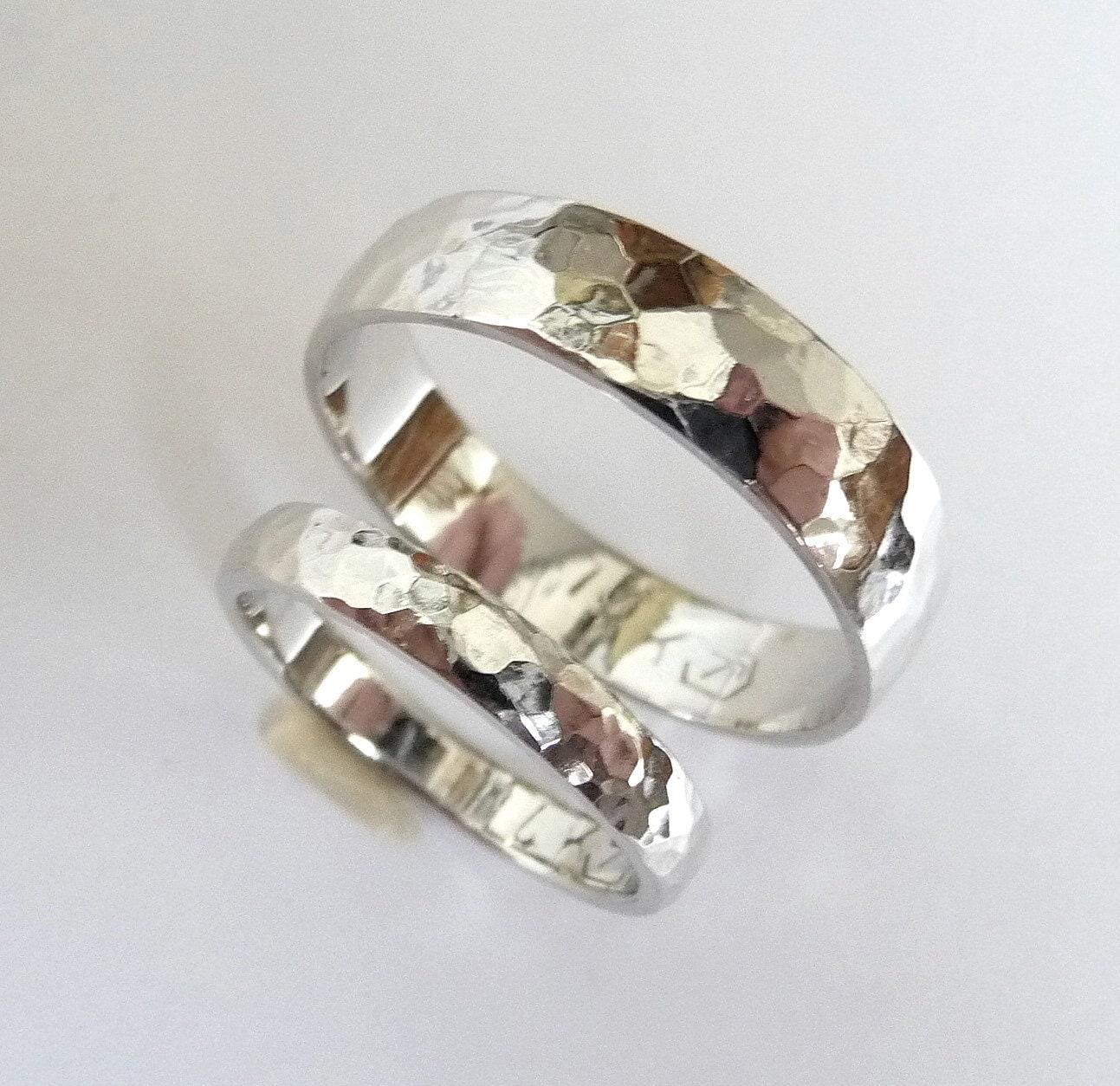 white gold wedding band set men women gold womens wedding rings women wedding ring hammered wedding band polished shiny zoom