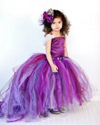 Purple Flower Girl Dress w Detachable TrainTulle