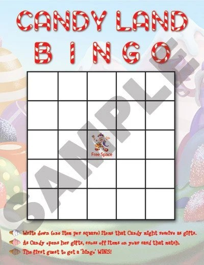 Candyland Printable Bingo Game
