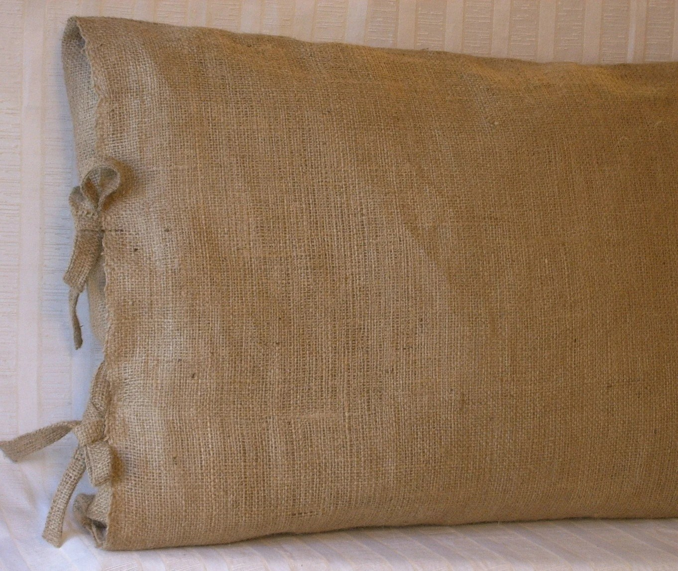 2 King Burlap Pillow Shams With Tie Closure 36 X