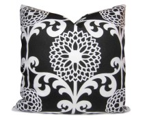 ON SALE - Black and White Throw Pillow - Modern Floral Pillow Cover  - Decorative Pillow - Accent Pillow