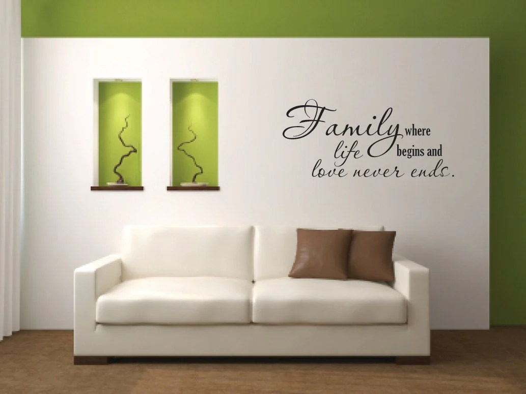 Vinyl Wall Decal Wall Decal Quote Family Where Life Begins Vinyl Wall Decal