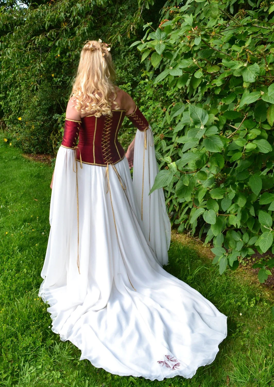 Medieval Wedding Dresses Canada pagan wedding dresses Medieval Pre Raphaelite Corseted Wedding Gown From frockfollies