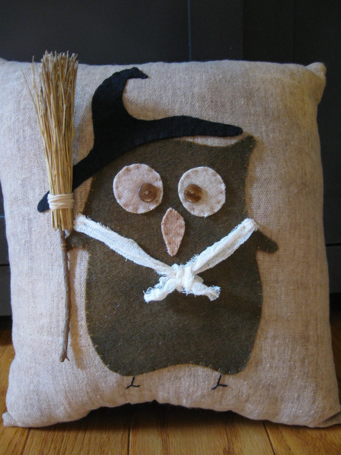Primitive Witch Owl Halloween Pillow By Justplainfolk On Etsy