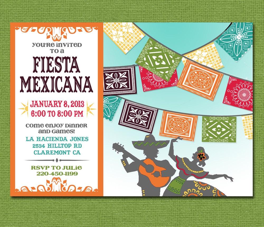 papel picado invite mexican wedding invitations Print Yourself Mexican Fiesta Invitation Custom Printable Party Invite for Birthday Barbecue Shower