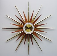 Mid Century Modern Starburst Wall Clock by Forestville Atomic