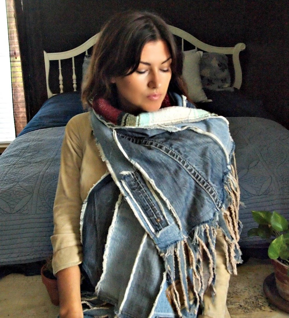 Patchwork Sofa Scarf Shawl Fringe Rustic Denim Patchwork Wrap Woven Mexican