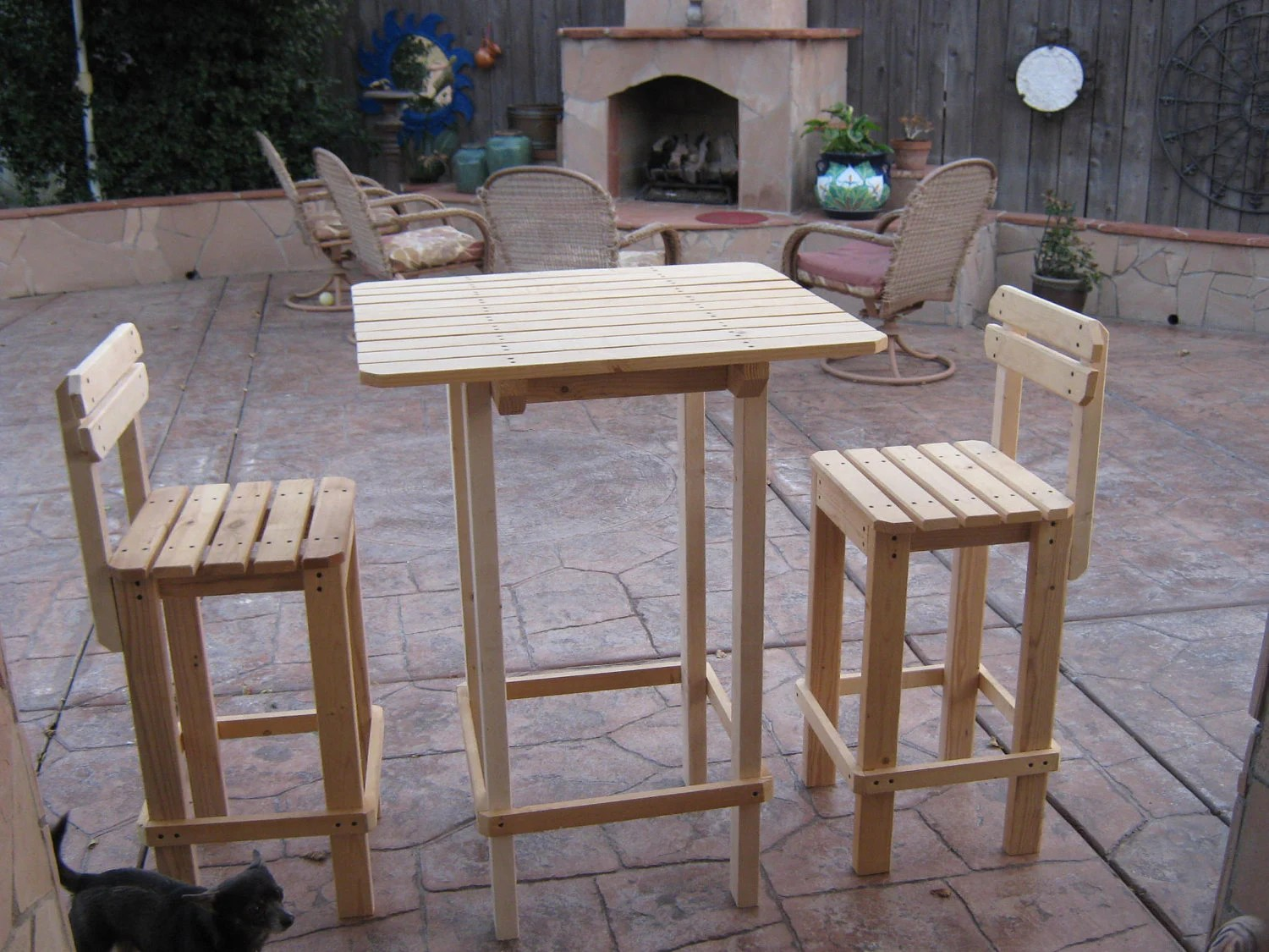 Diy Patio Table And Chairs Diy Plans To Make Bar Table And Stool Set By Wingstoshop