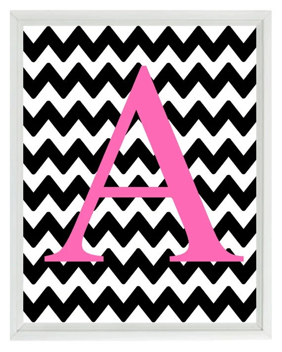 Cute Zig Zag Wallpapers Chevron Monogram Initial Letter Art Print Girl Room Nursery