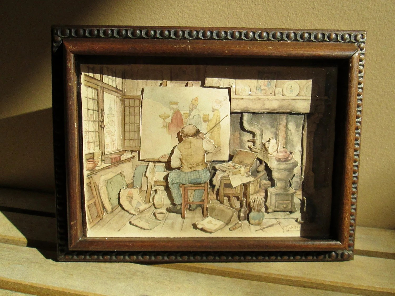 Items Similar To Anton Pieck 3d Shadow Box Framed Prints