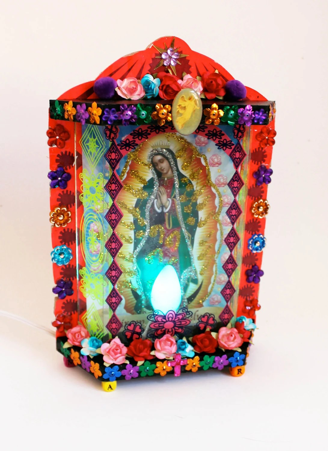 Lamp Our Lady Of Guadalupe Lamp / Mexican Folk Art / By