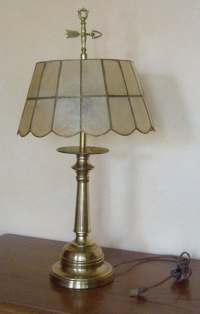 Vintage Brass Table Lamp with Capiz Shell Shade and Arrow