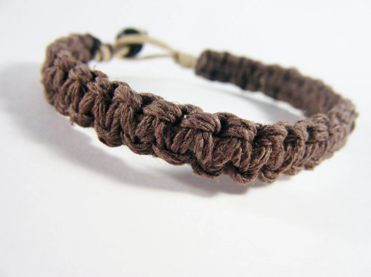 Mens Bracelet Thick Brown Hemp Bracelet Eco Friendly