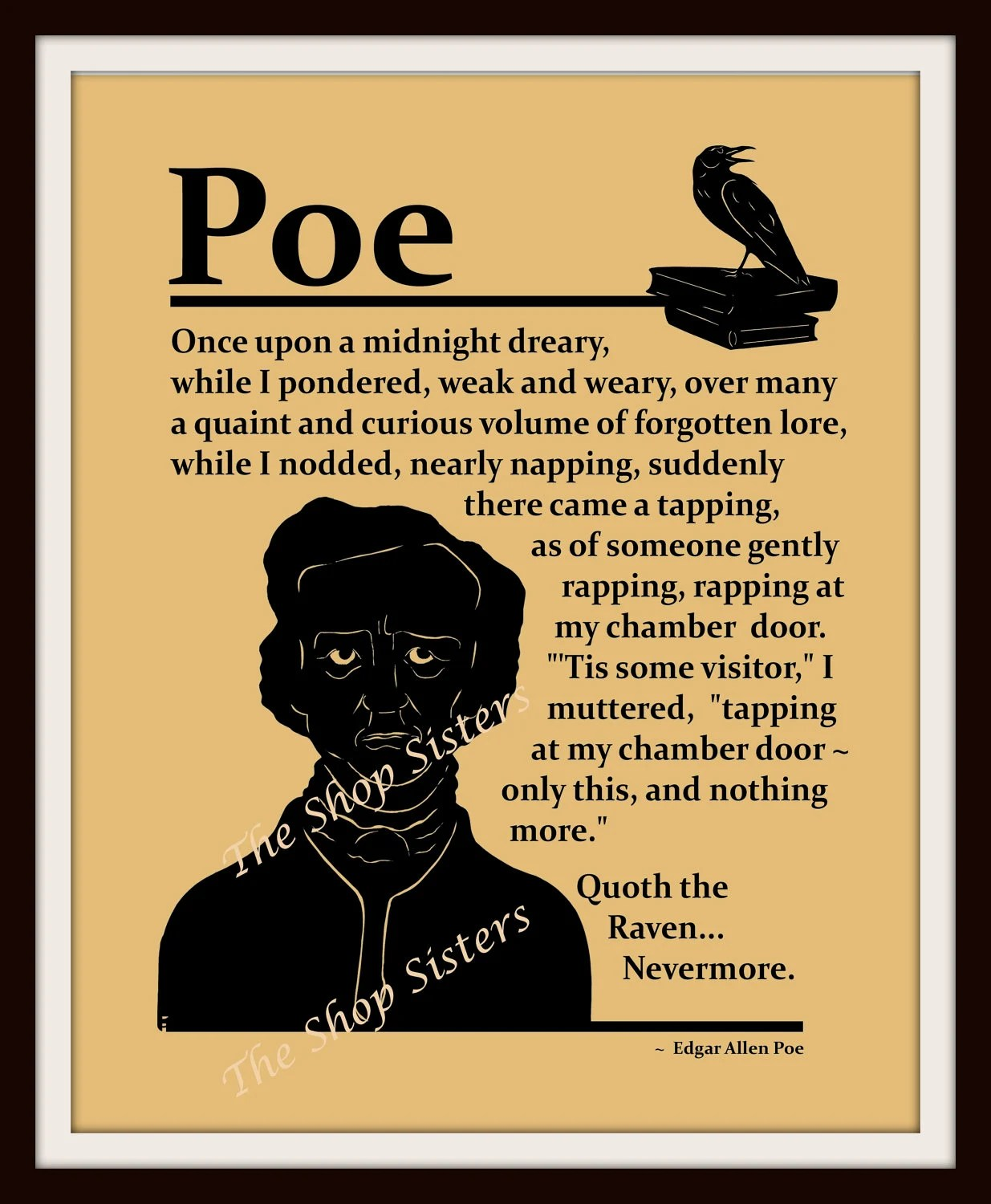 Items similar to Edgar Allan Poe Raven Poem Silhouette