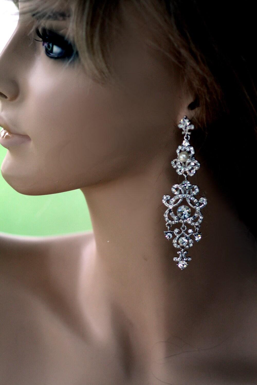swarovski bridal earrings pearl earrings wedding earrings zoom