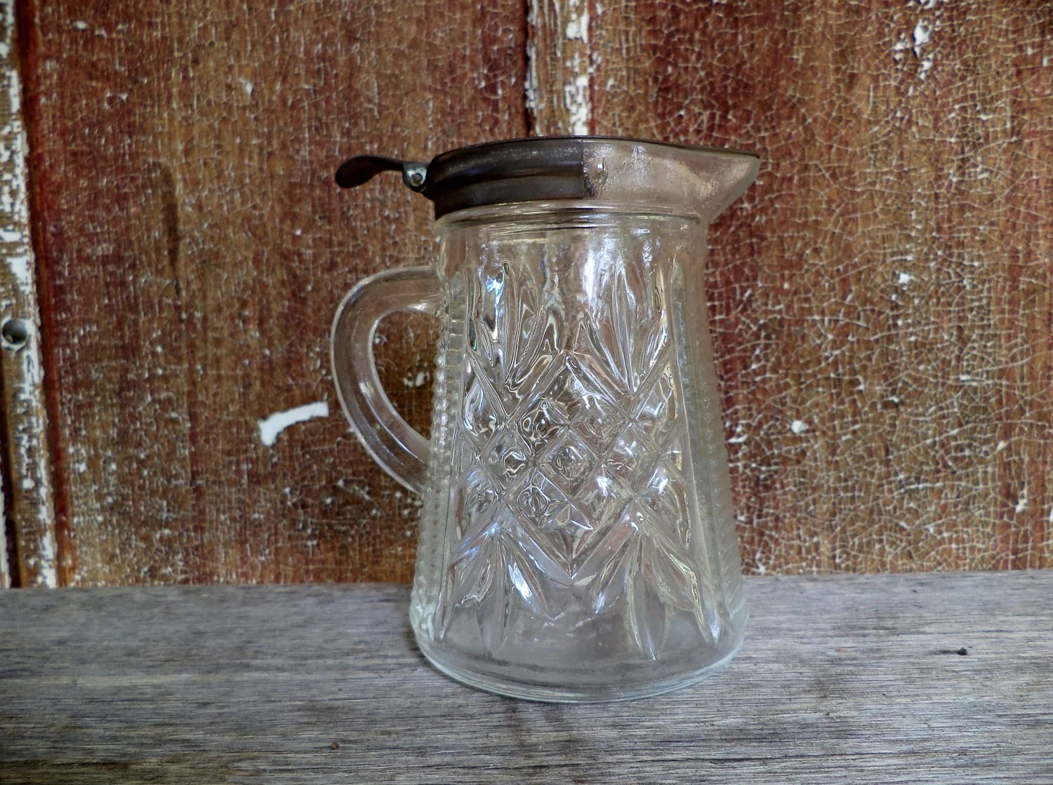 Small Glass Pitcher With Lid Vintage Glass Syrup Pitcher With Tin Lid Wonderful Antique