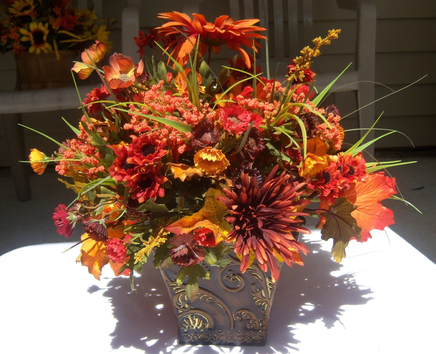 Fall Silk Floral Arrangements Fall Silk Floral Arrangement By Valndees On Etsy