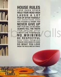 Vinyl Wall Decal Sticker Art House Rules