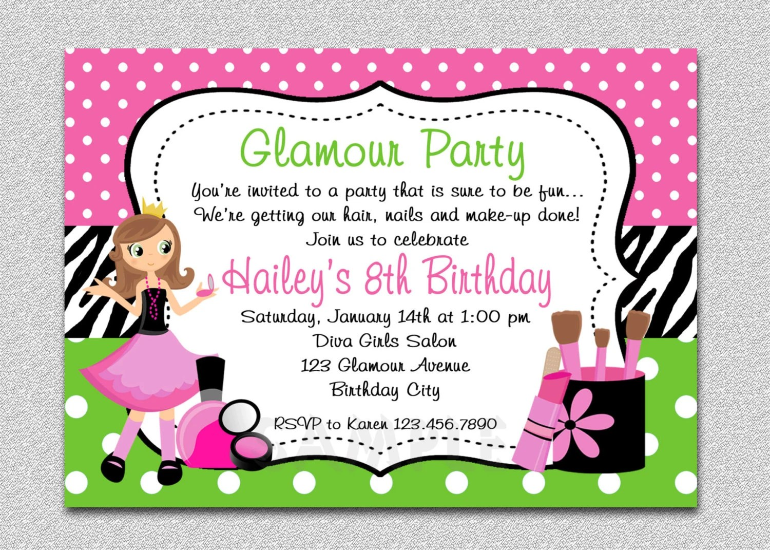 Glamour Girl Birthday, Spa Invitation, Glamour Girl Birthday Party - spa invitation