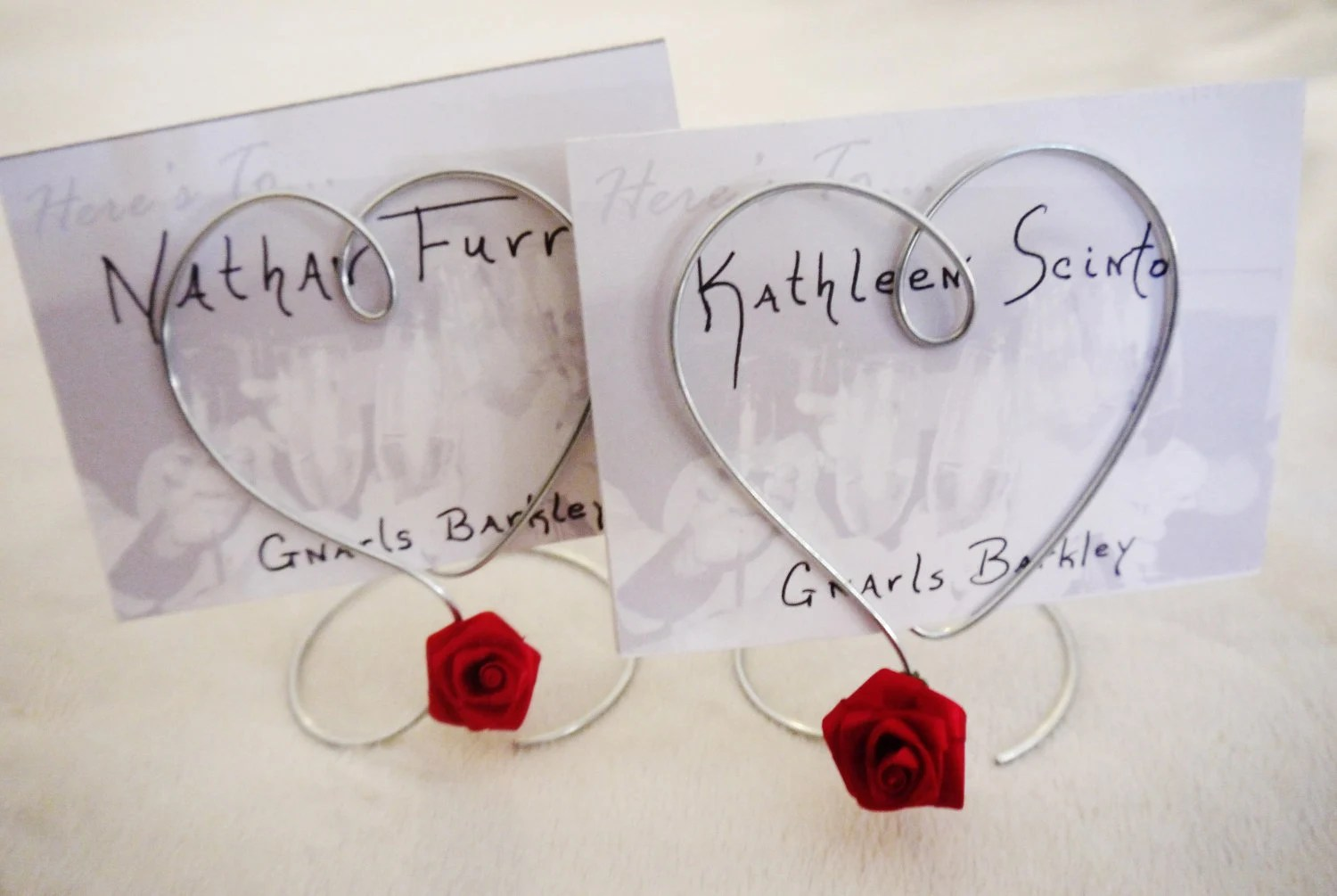 Single Wire Heart Red Rose Photo Holder Or Place Card