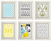 Items similar to Set of Six Modern/Vintage Yellow ...