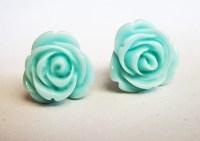 teal earrings rose earrings flower stud earrings small post
