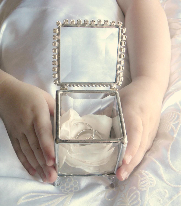 luxury ring box keepsake wedding rings Personalized Ring Bearer Box Stained Glass Box Custom Ring Pillow Alternative Glass Ring Box Rhinestone Wedding Ring Box Keepsake Box