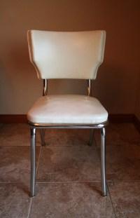 Retro White Vinyl Kitchen / Desk Chair Mid by TurtleHillShop