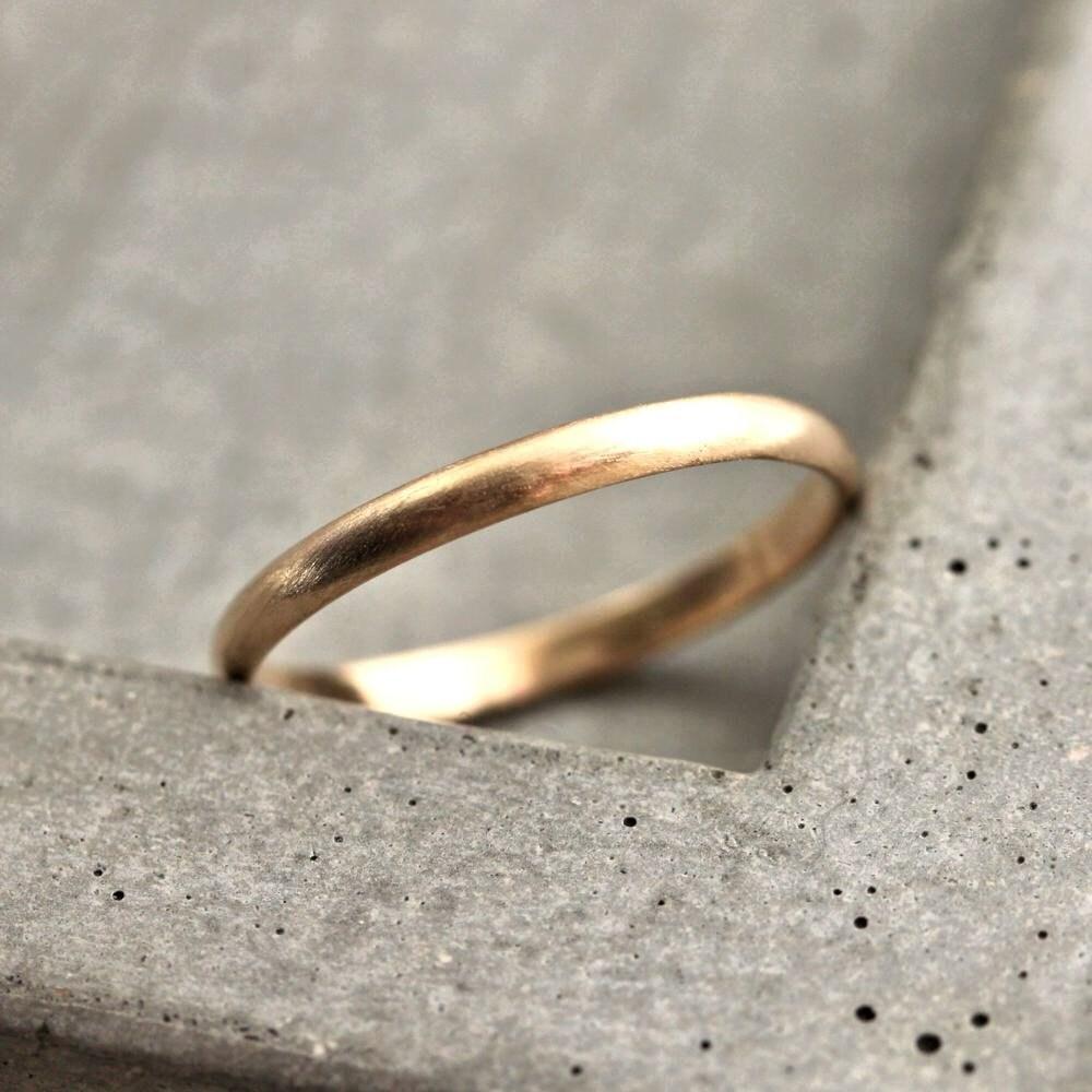 womens gold wedding band 2mm half round yellow gold wedding rings Yellow Gold Ring Brushed Gold zoom