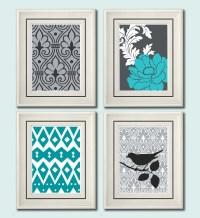 Set of Four Modern Vintage Turquoise/Gray Wall Art Print Set