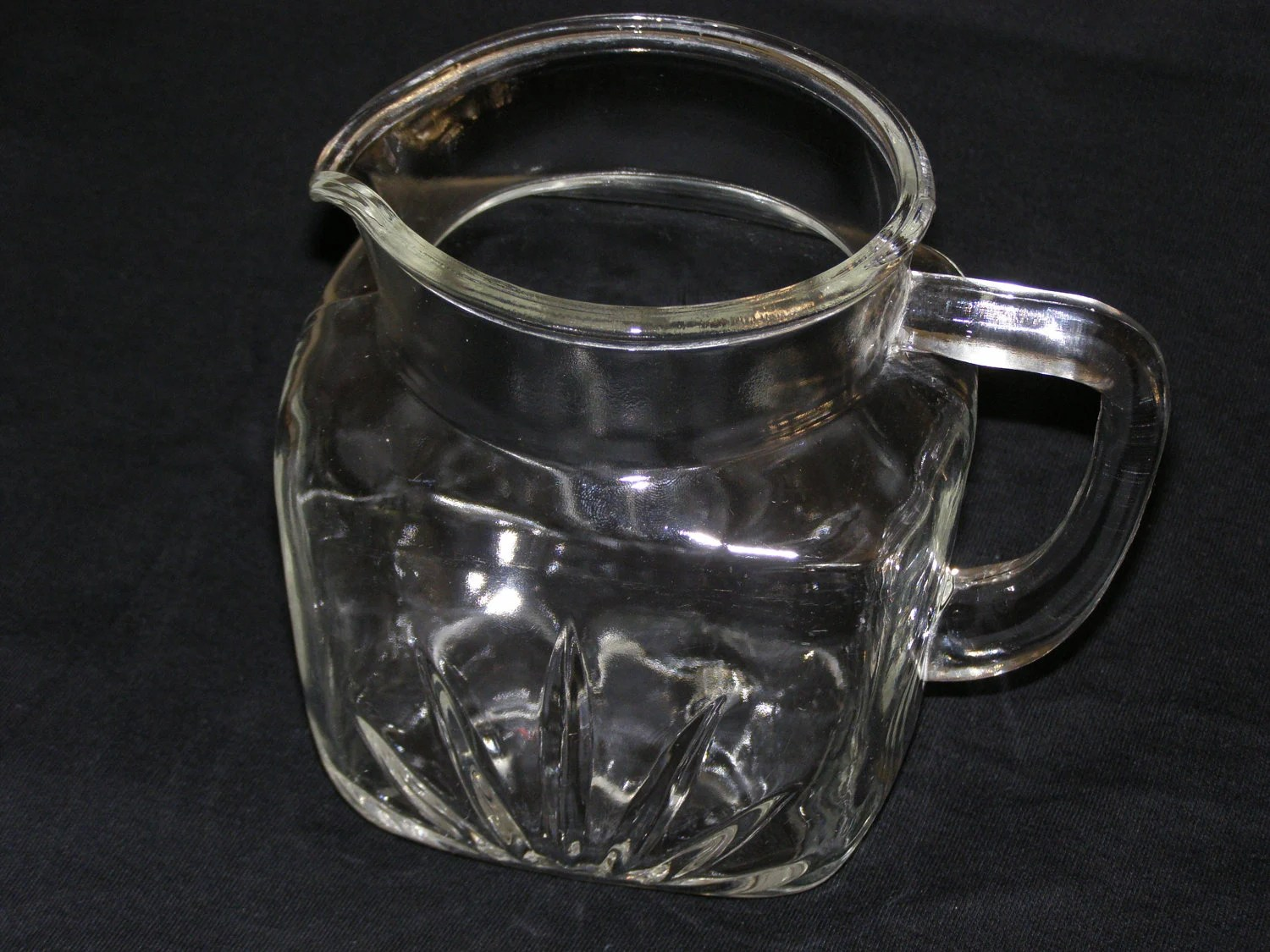 Large Glass Pitcher With Spout Vintage Glass Pitcher Square Base With Spout And Handle