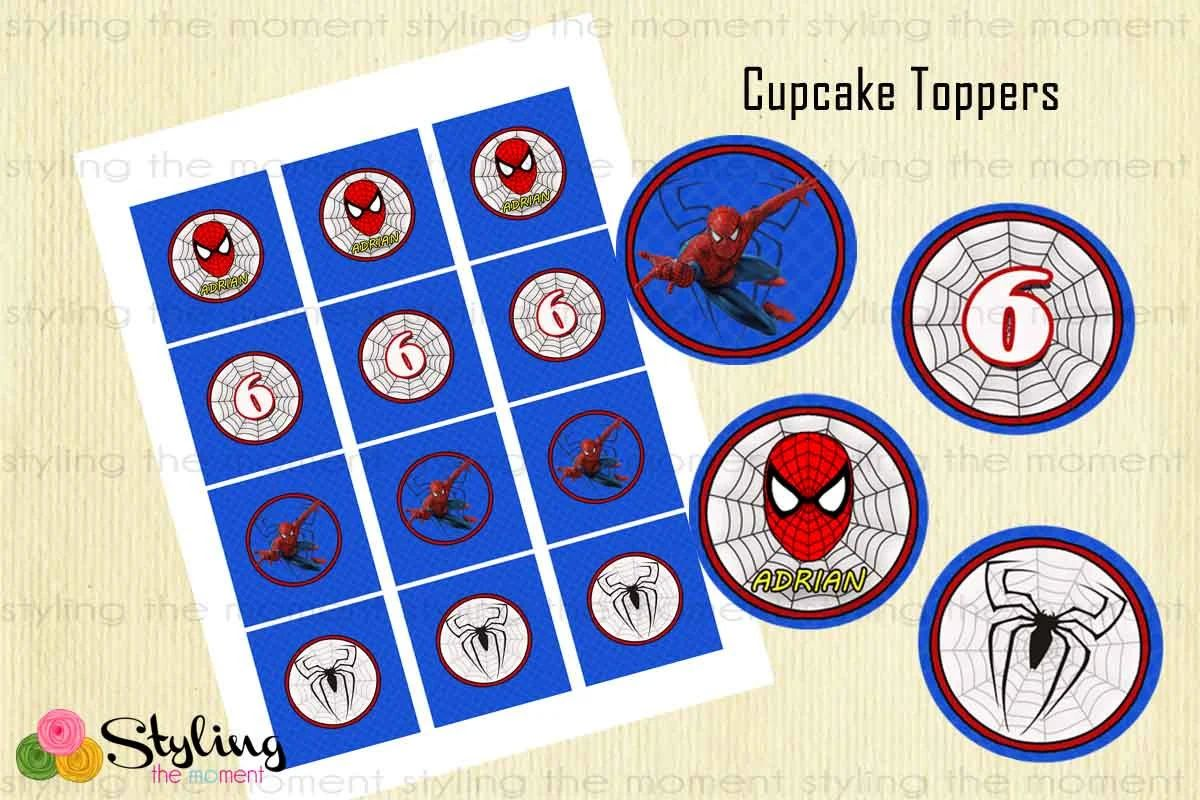 Spiderman cupcake toppers and wrappers