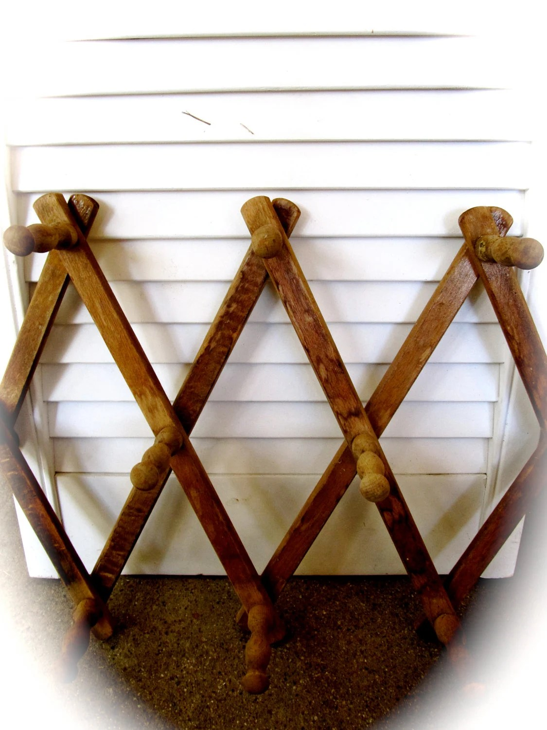 Vintage Wooden Accordion Hanging Coat Hat Wall By