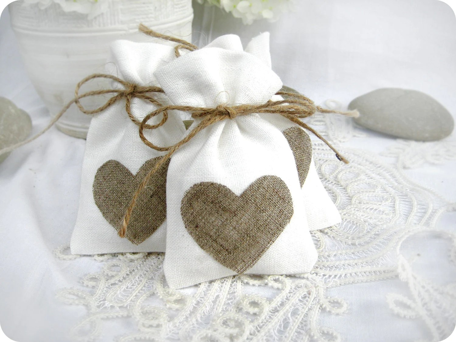 wedding favor gift bags wedding gift bags Wedding Favor Bags Set Of 10 White Rustic Linen Wedding