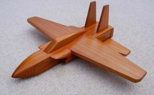 Wooden Jet Airplane Toy Cedar Wood
