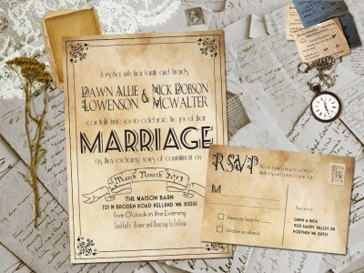 Wedding Invite and RSVP Marvelle Vintage Rustic Personalized