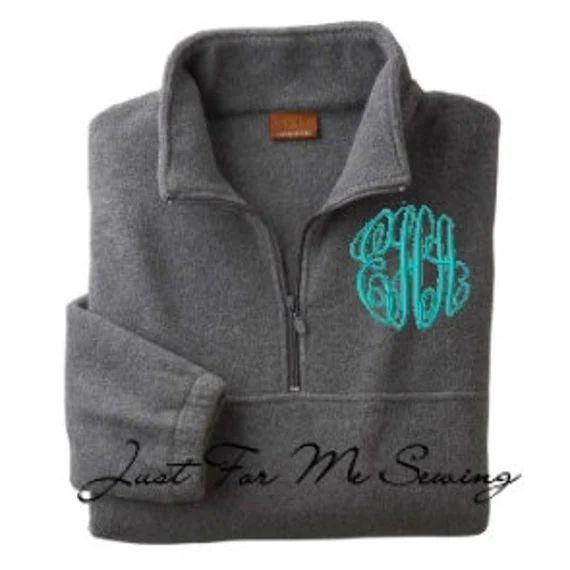 half zip pullover monogrammed