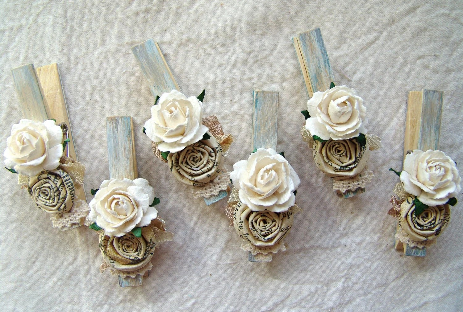 French Country Shabby Chic Cottage Blue Decorative Clothespins - Shabby Chic Tischdeko