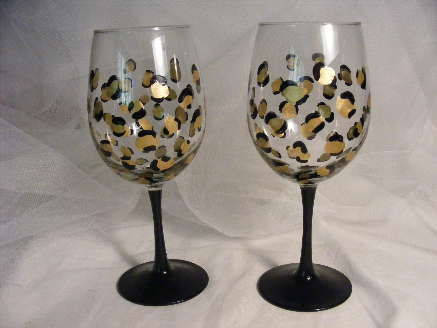 Wine Glasses With Black Stems Leopard Print Wine Glasses With Black Stem By Delightfulfinds