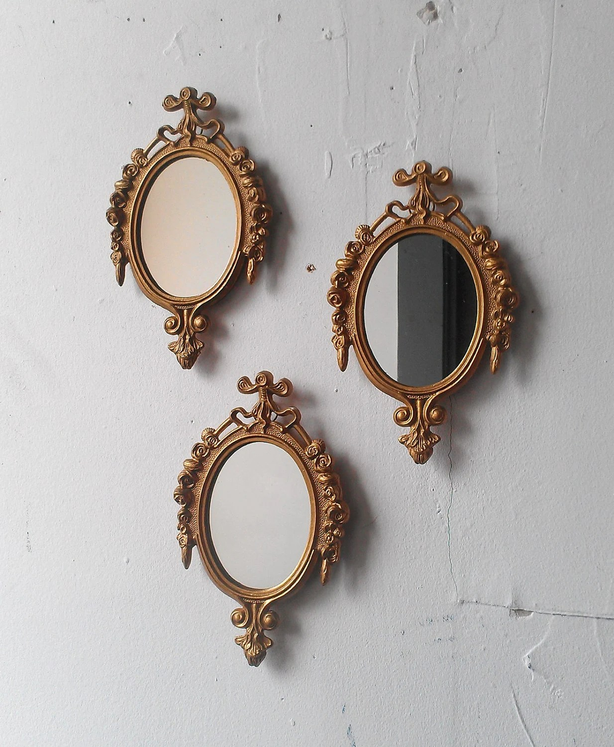 Small Gold Mirror Set Gold Framed Mirror Set Of Three In Small By