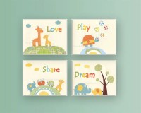 Nursery decor Jungle friends Baby room art Nursery Decor Baby