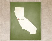Customized California 8 x 10 State Art Print, State Map, Heart, Silhouette, Aged-Look Print
