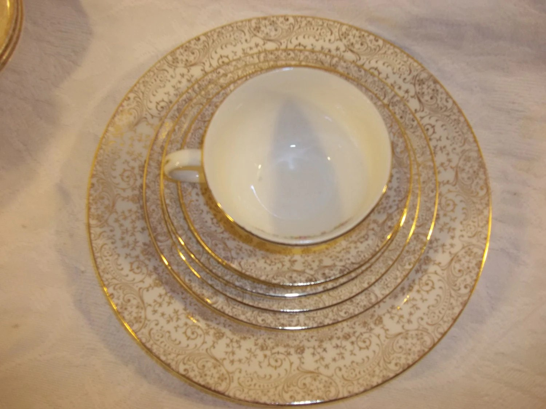 Vintage Antique Liberty Gold Dinnerware Set Plate Cup Saucer