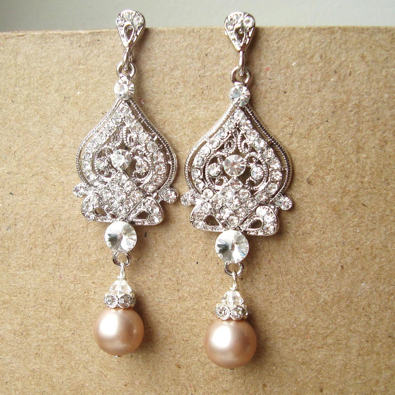 champagne wedding earrings art deco wedding earrings zoom