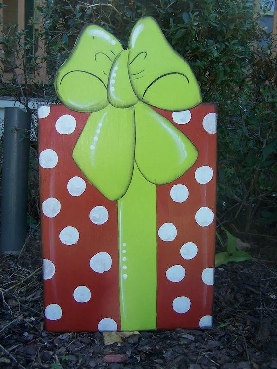 Items similar to christmas present yard art garden art on etsy