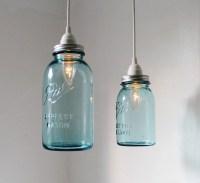 Sea Glass Mason Jar Pendant Lights Set of 2 Hanging Antique
