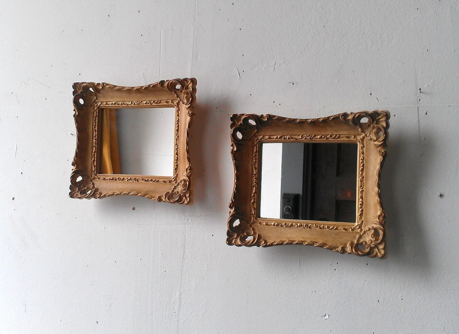 Small Gold Mirror Set Framed Mirror Set In Small Vintage Gold Frames