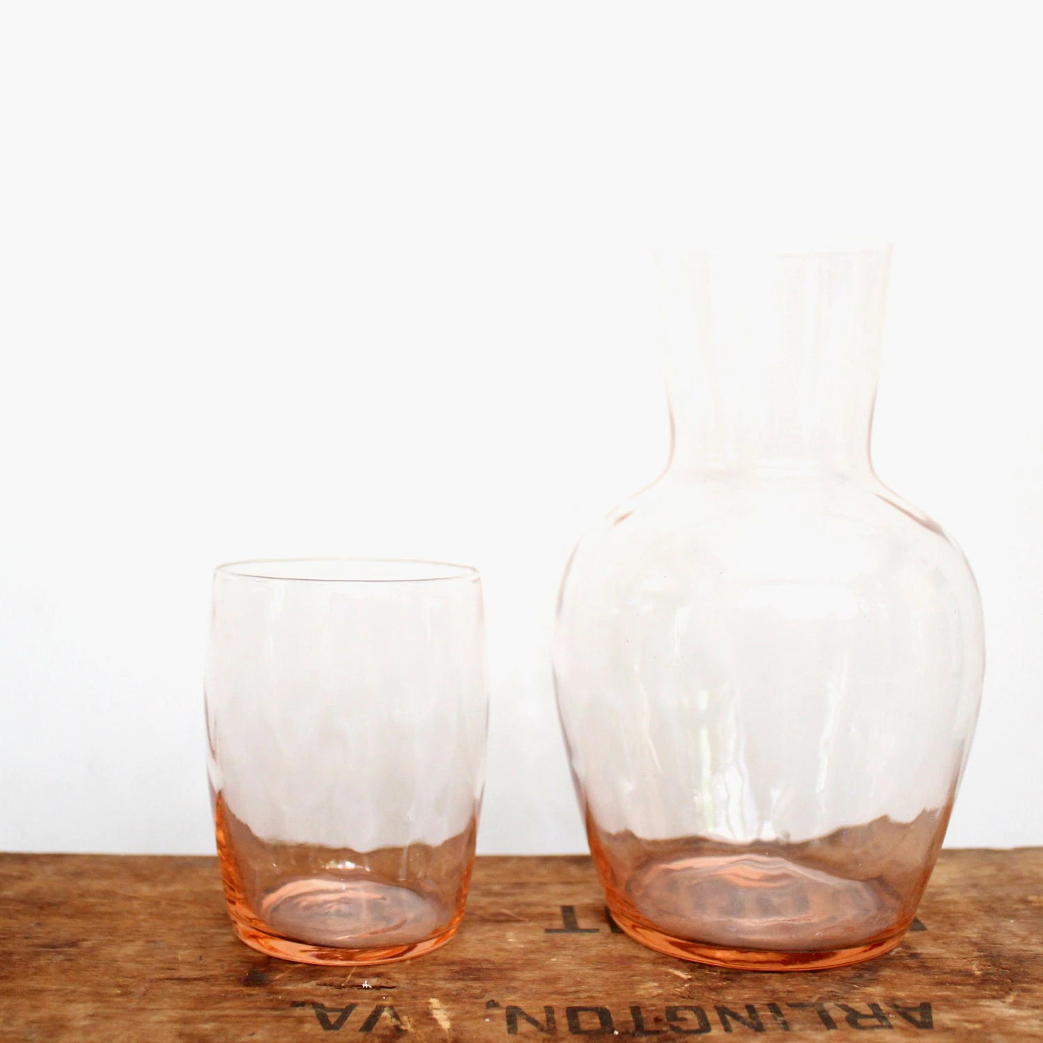 Bedside Water Carafe And Glass Vintage Handblown Glass Bedside Water Carafe By